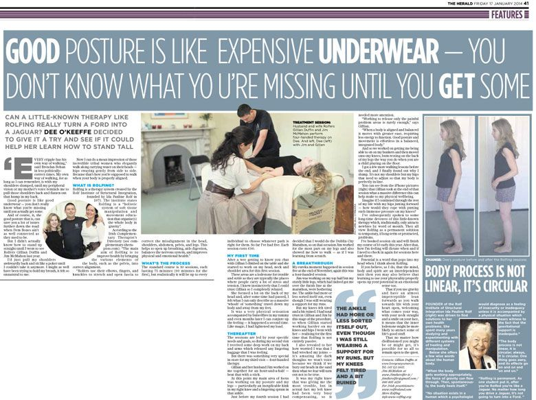 Evening Herald article on Rolfing